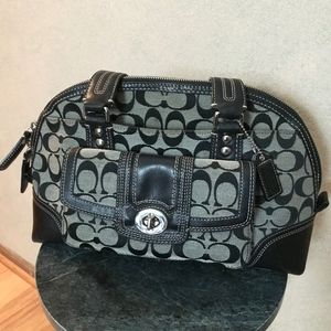 Coach Purse Black Canvas and Leather